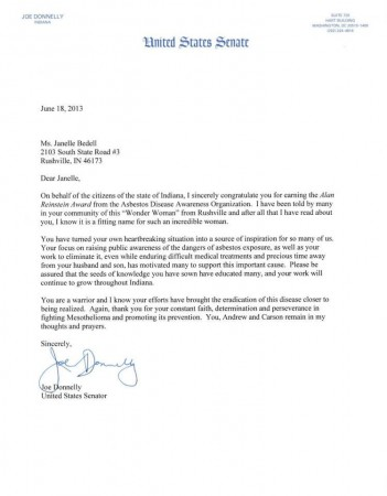 Letter to Janelle from Joe Donnelly