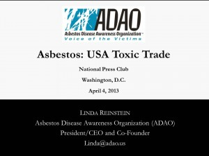 "Reinstein my ""Asbestos: USA Toxic Trade"""