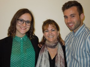 Ellen Patton (center) at the April 29th town hall meeting with her niece Allison and her nephew Michael